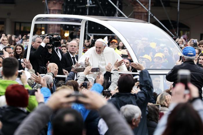 Pope Francis during a one-day pastoral visit to Carpi and Mirandola