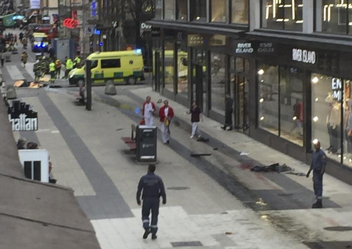 Truck drives into crowds on a street in central Stockholm
