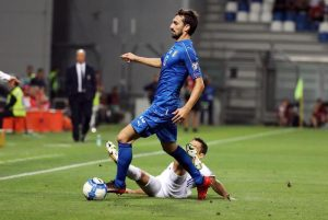 Italy's Davide Astori (front) in action during the FIFA 2018 World Cup qualifying soccer match Italy vs Israel at Mapei stadium in Reggio Emilia, Italy, 05 September 2017. ANSA/ELISABETTA BARACCHI