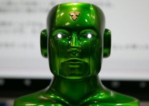 epa06053951 A 'Bartifical Intelligence Carlsdroid' is seen on display during the Artifical Intelligence Exhibition and Conference (AI Expo) in Tokyo, Japan, 28 June 2017. The AI Expo is Japan's first trade show related to artificial intelligence (AI) with 110 exhibiting companies showcasing technologies and services related to AI. The show runs from 28 to 30 June.  EPA/CHRISTOPHER JUE